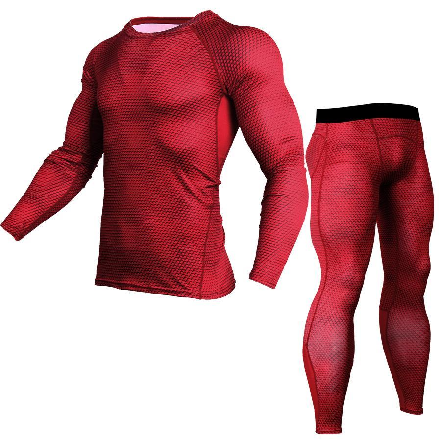 TF Baru Pria dan Celana Panjang Lengan Olahraga Luar Ruangan Cepat Kering Pakaian Kompresi Menjalankan Kebugaran