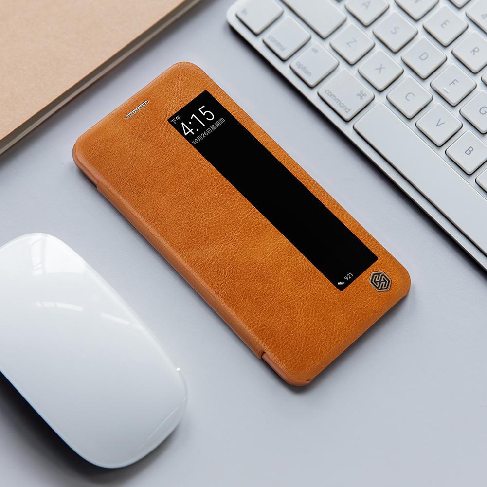 NILLKIN Premium Rak Sepatu Pajangan Flip Cover Casing untuk Huawei P20 Pro Tas Pelindung Ponsel Kasus dengan Saku Kartu