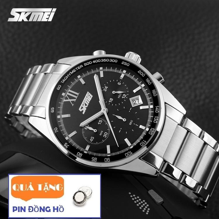 Đồng hồ nam dây thép không gỉ Skmei 9096 6 kim quay sang trọng (Tặng pin đồng hồ) bán chạy
