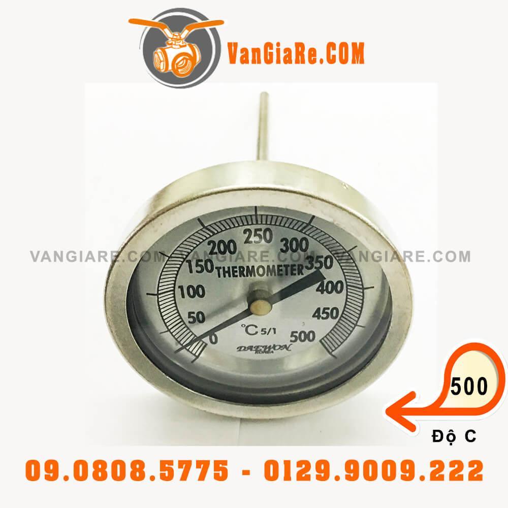 Đồng hồ đo nhiệt độ 500oC inox chân sau DAEWON Hàn Quốc