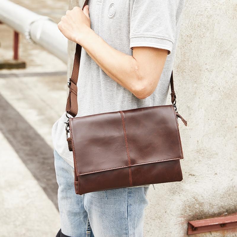 Horse Leather Men Korean Style Shoulder bag bags Vintage Trend Men File bag  bags Leisure iPad c4b3ed1aa408e