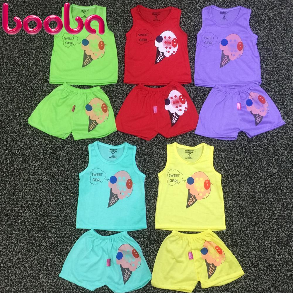 Hình ảnh Combo 5 bộ áo ba lỗ quần đùi cho bé trai bé gái (ảnh thật)_BD04