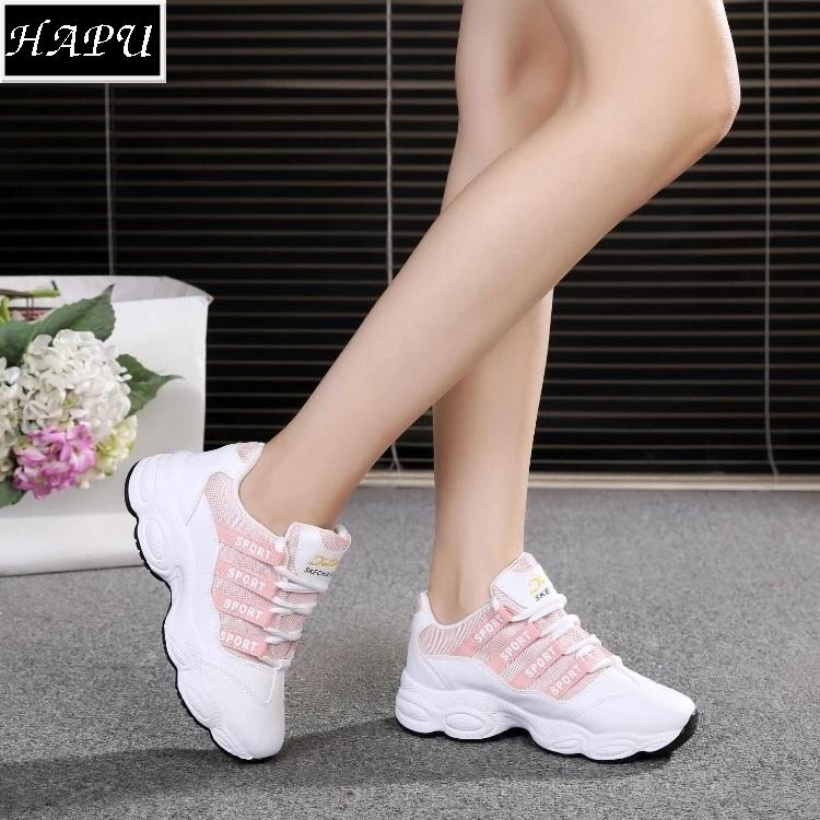 Mua Video Thực Tế Giay Sneaker Nữ Hot Trend Chữ Sport Hapu Đen Hồng Mới Nhất