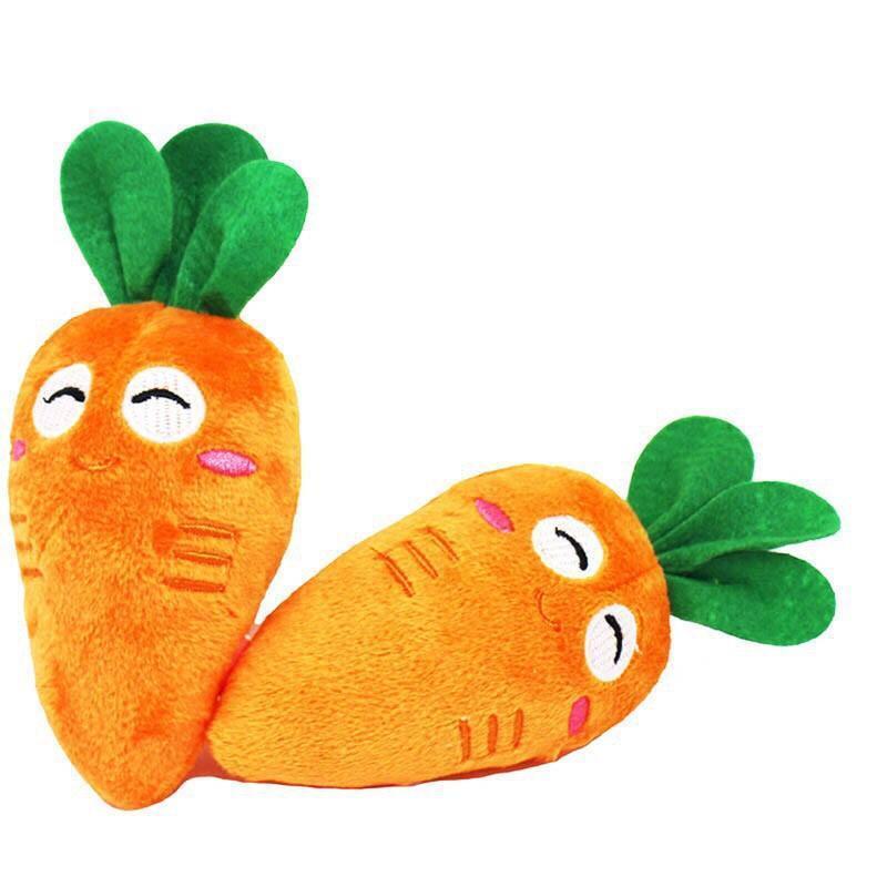 Đồ chơi nhồi bông cầm tay hình củ cà rốt bóp kêu chút chít cho bé