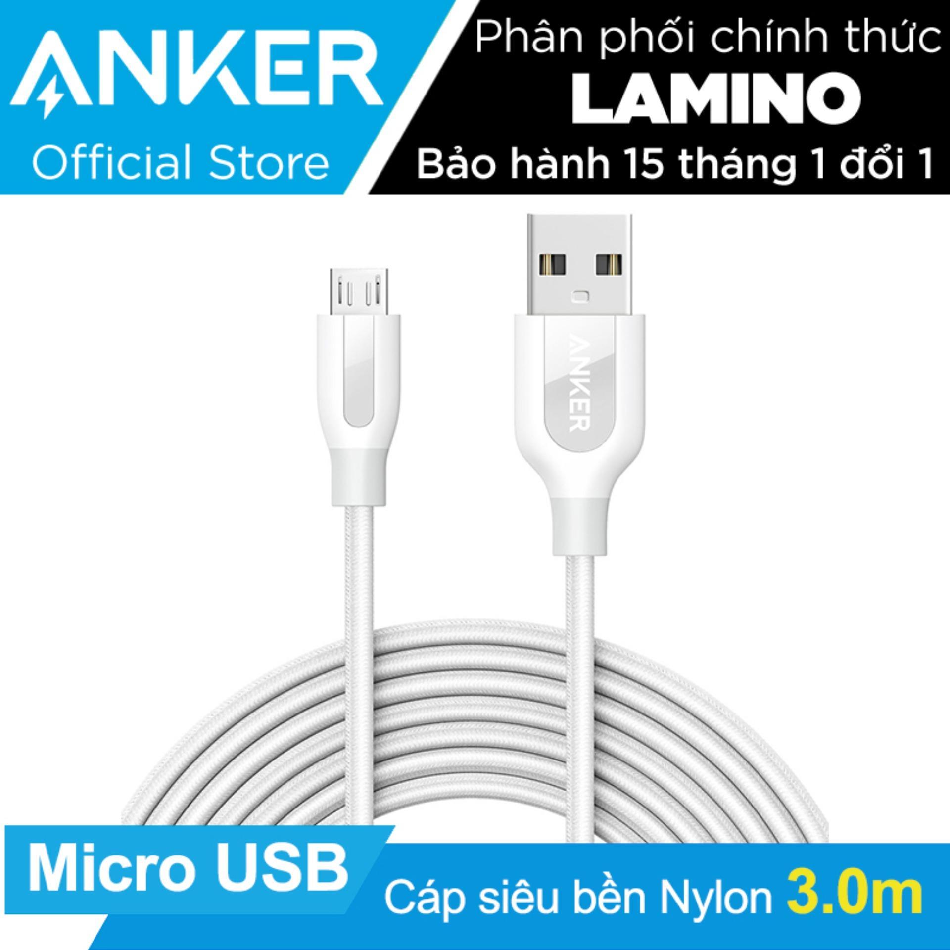 Giá Bán Cap Sieu Bền Nylon Anker Powerline Micro Usb Dai 3M Trắng Anker Hồ Chí Minh