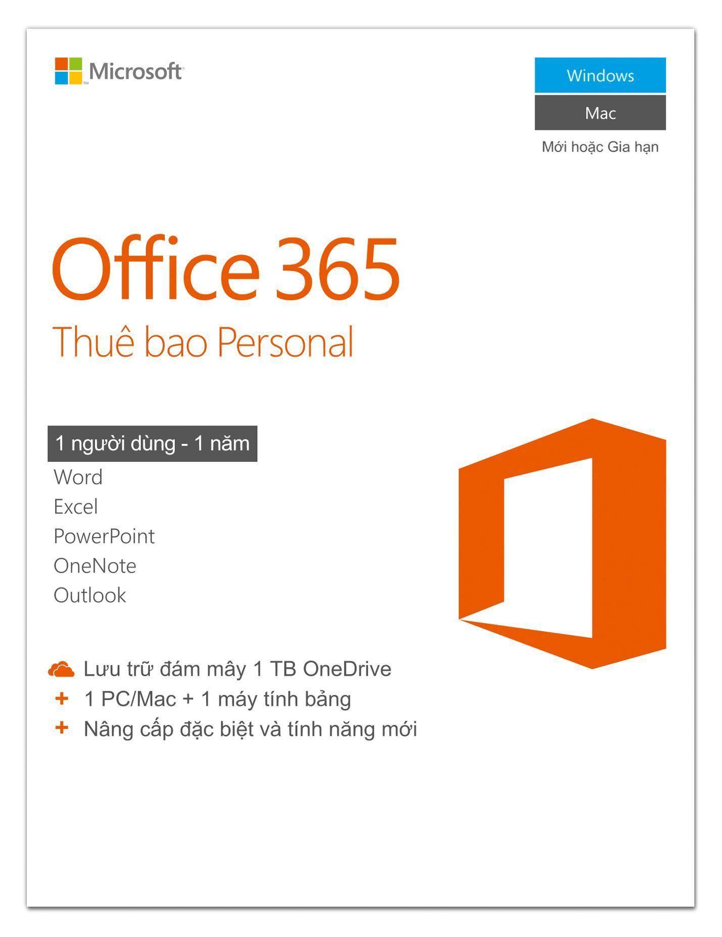 Hình ảnh Phần mềm Microsoft® Office 365 Personal 1 người dùng/năm - Pupam phân phối chính hãng