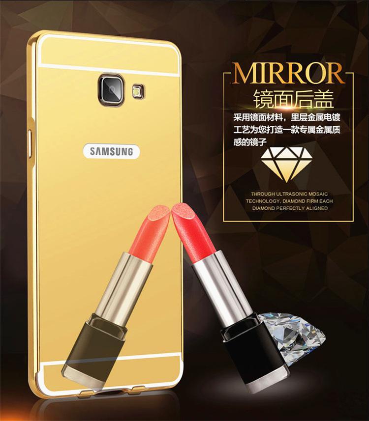 Untuk Samsung Galaxy J5 Prime Plating Bingkai Logam + Lembut Cermin PC Penutup Belakang, 2-In-1 Casing Ponsel untuk Pemasangan Yang Mudah dan Penghapusan