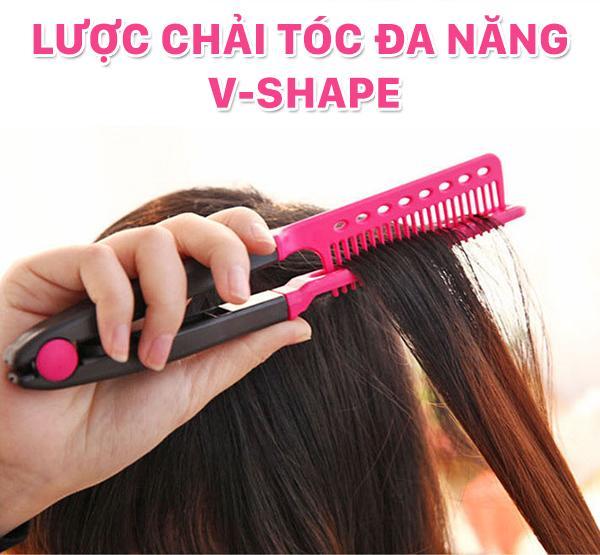 Hình ảnh Lược chải tóc đa năng V-Shape - duỗi thằng - uốn cúp - phồng tóc 3in1