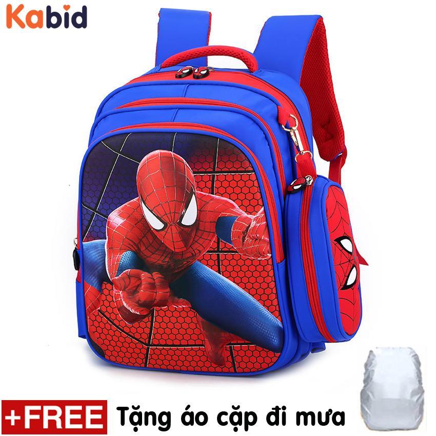 Giá Bán Balo Chống Gu Lưng Cho Be Trai Kem Hộp But Phien Bản Nổi 3D Người Nhện Kabid Spider Man Xanh Phối Đỏ Tặng Ao Cặp Đi Mưa Mới Rẻ