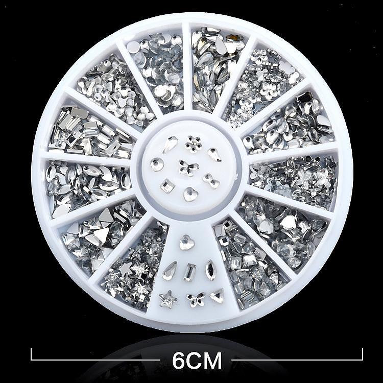 Hình ảnh Khay Tròn 12 ô đựng hạt Nails, Trang trí Móng tay #OM09 (Tặng keo dán)