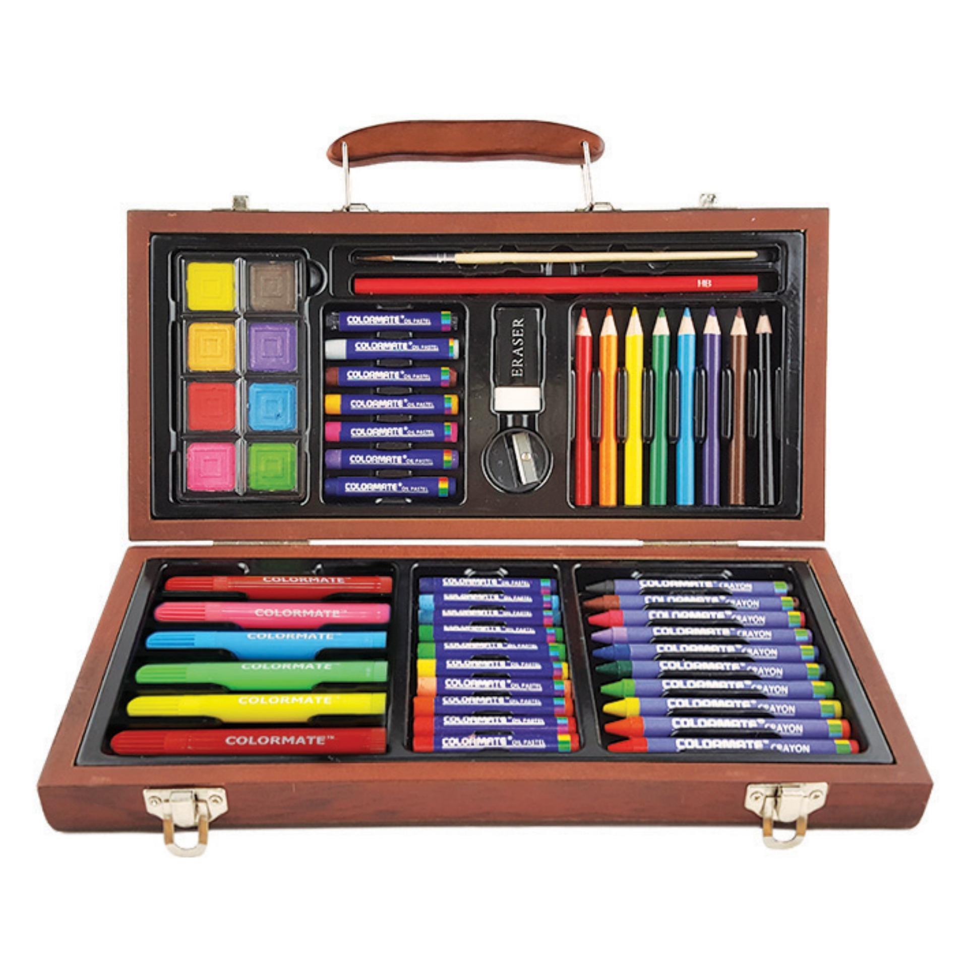 Hình ảnh Bộ màu vẽ đa năng hộp gỗ Colormate MS-55W