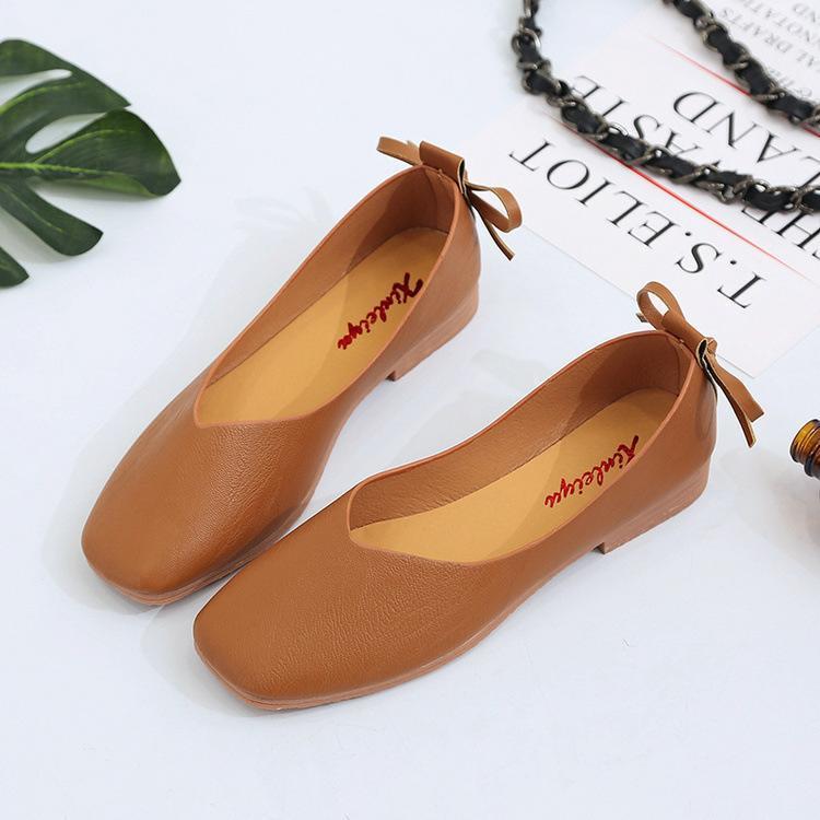 Giày búp bê mũi vuông phối nơ cực xinh - BB001