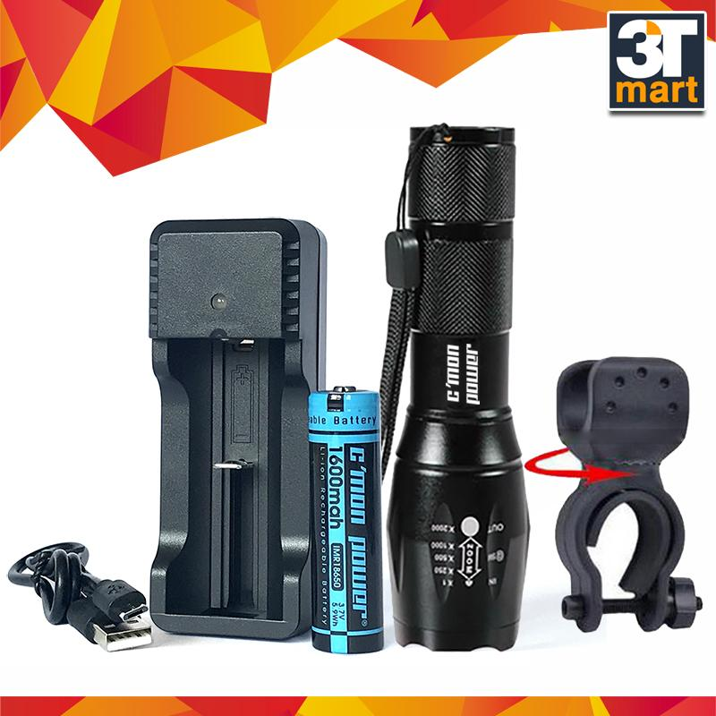 Hình ảnh Bộ 1 đèn pin C'mon Power GUARD T6 LED + 1 pin sạc + bộ sạc nhanh USB 1A + giá gắn xe đạp