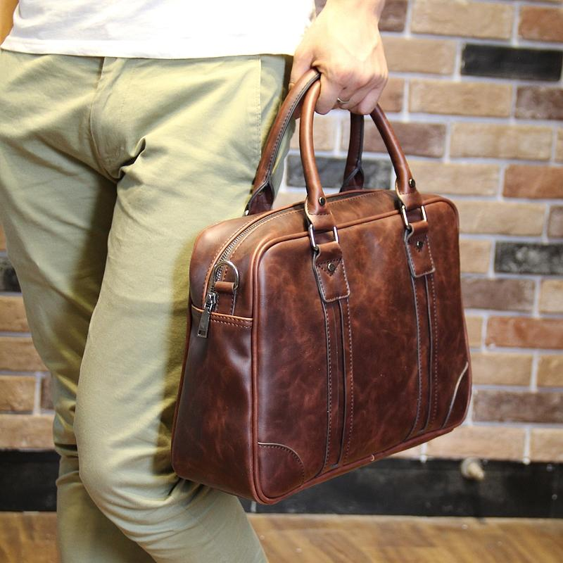 Genuine Cow Leather Business Bags Mens Bags Business Bags Messenger Bags Shoulder Bags Briefcases Computer Bags - intl
