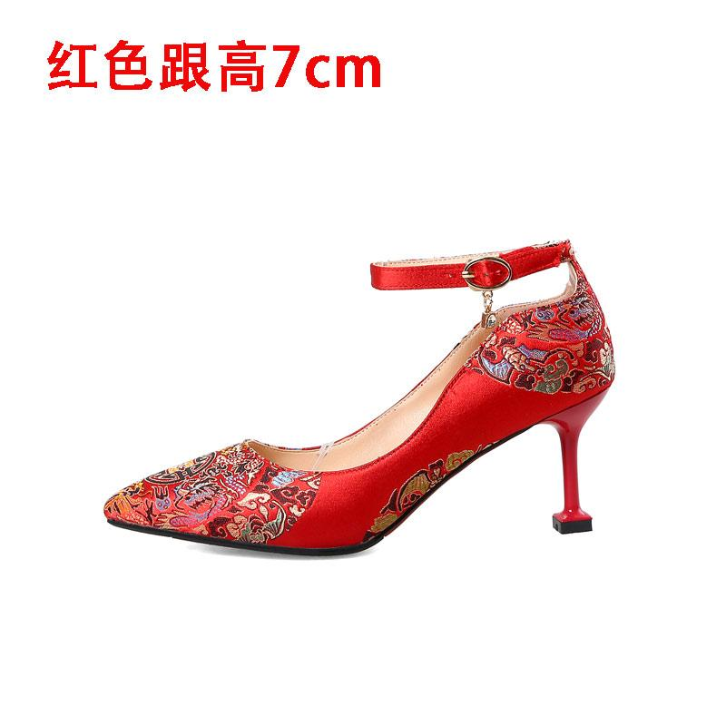 e3129b2f7 Chinese Style Married Shoes Female Thin Heeled Bride Shoes 2019 New Style  Married Shoes High Heels