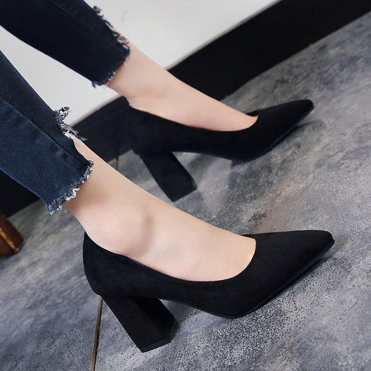 f7e601f65d2 Korean-style Spring and Autumn New style pointed thick with high heels  suede shoes (