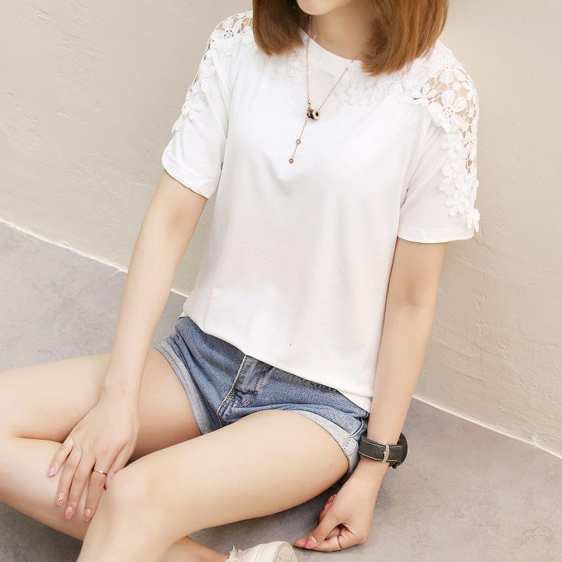 5ab5006fdec Short-sleeved Top Female Summer 2019 New Style Versatile Loose Wind White  Hong Kong Flavor