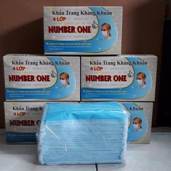 Combo 5 hộp khẩu trang y tế 4 lớp xanh NUMBER ONE - 1 bịch 50 cái