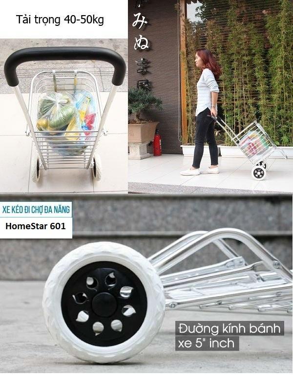 Xe kéo đồ đi chợ HomeStar 601 tiện ích siêu nhẹ siêu bền KL123