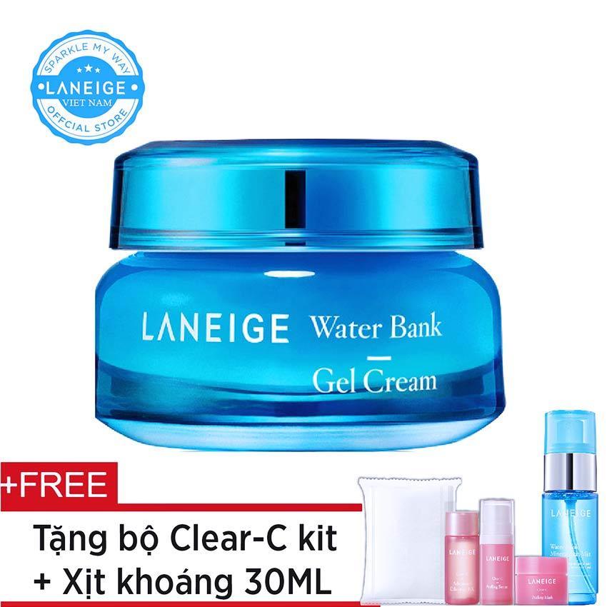 [HOT DEALS] Kem dưỡng ẩm dạng gel Laneige Water Bank Gel Cream 50ml + Tặng bộ dưỡng Clear-C Trial Kit 4 món và xịt khoáng 30ml