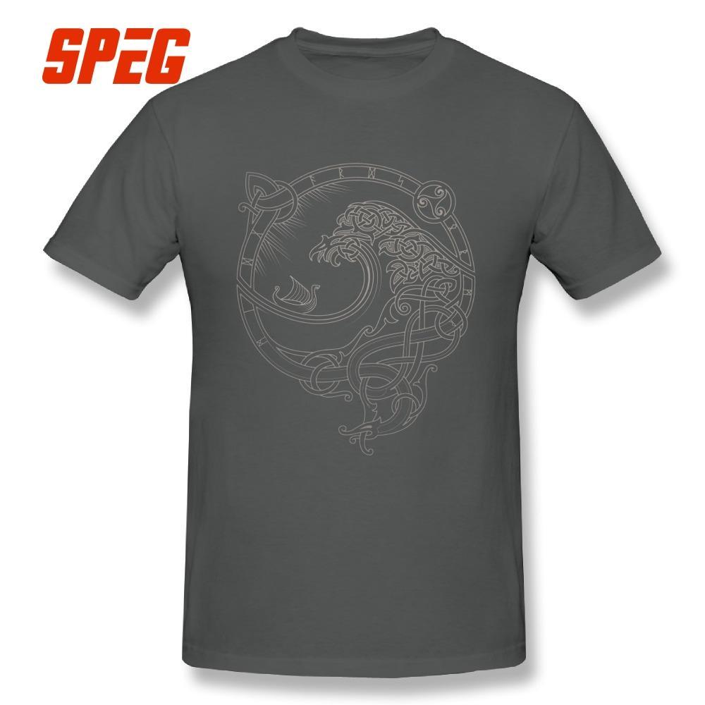 Kaos Viking Valhalla Angin Utara Remaja Kaus Oblong Lengan Pendek Kaus Kasual Dijual Pria Kaus Kustom-Intl