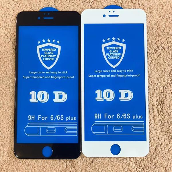 Hình ảnh Kính cường lực 10D cho iphone (Tặng nút home) 6, 6s,6splus, 7, 7Plus, 8, 8Plus, X mầu đen