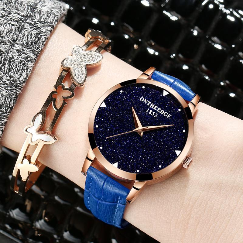 นาฬิกาข้อมือควอทซ์หนังแท้ ผู้หญิง สไตล์เกาหลี ยี่ห้อontheedge By Taobao Collection.