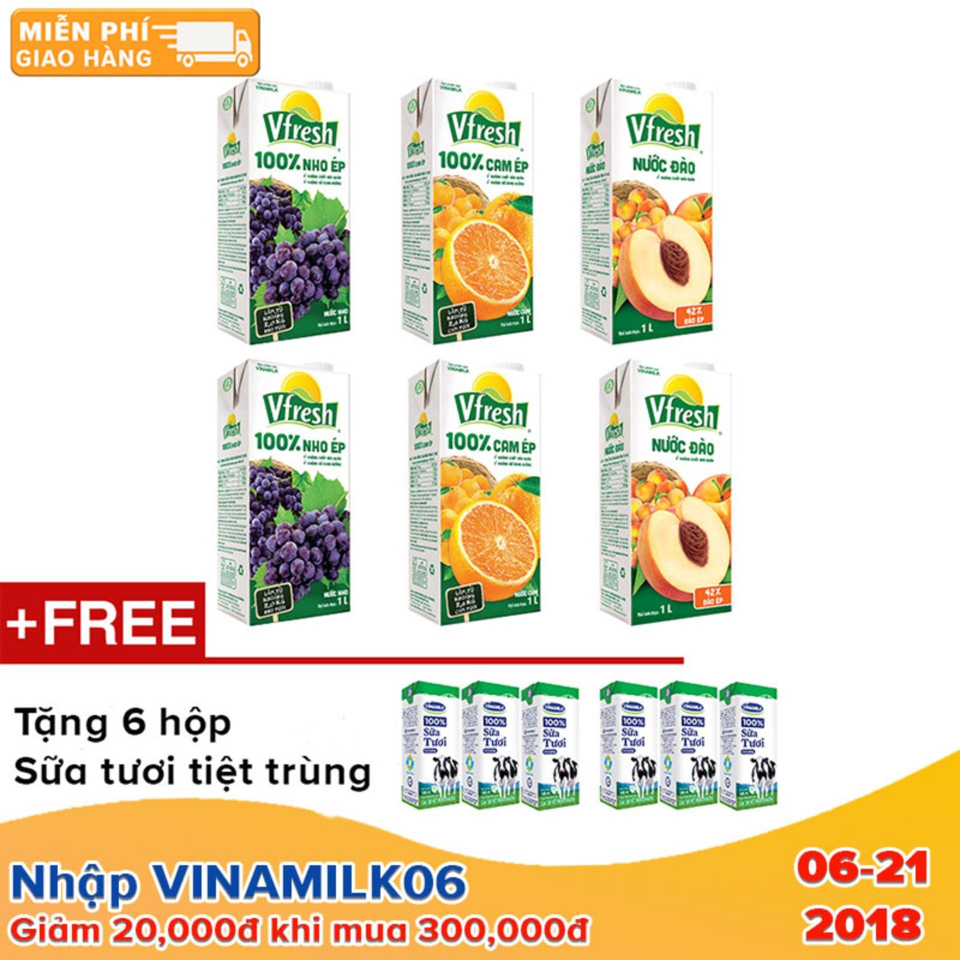 Bộ 6 hộp nước ép trái cây Vfresh đào + nho + cam 100% - Tặng 6 hộp sữa tươi Vinamilk 180ml