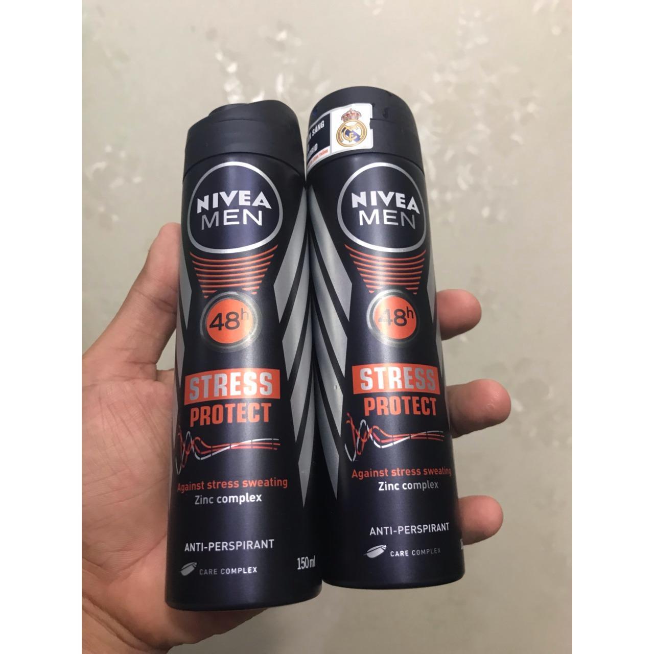 Combo 2 Chai Xịt khử mùi Nivea Men Stress Protect Ngăn khuẩn vượt trội chai 150ml