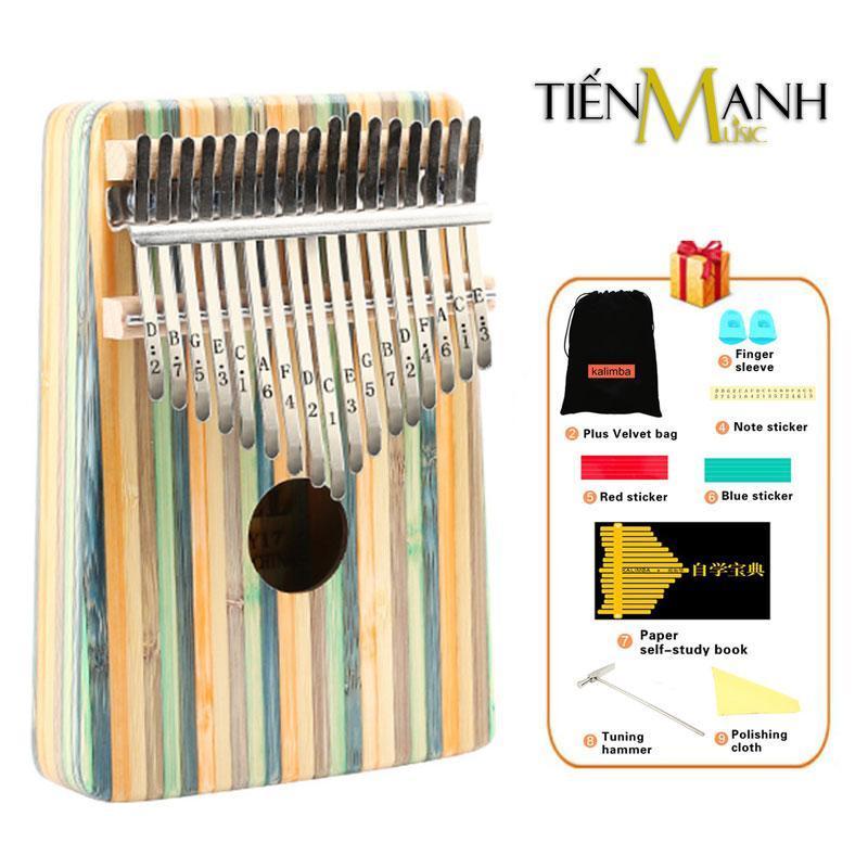 Đàn Kalimba Yael 17 Phím Y17B-G (Gỗ Trúc - Xanh - Mbira Thumb Finger Piano 17 Keys - Kèm Sticker dán note, Decal xanh đỏ, Búa chỉnh âm, Túi đựng, Khăn lau, Sách học, Móng gẩy Tiến Mạnh Music - Cho trẻ cảm thụ Âm Nhạc và Người mới chơi Nhạc Cụ)