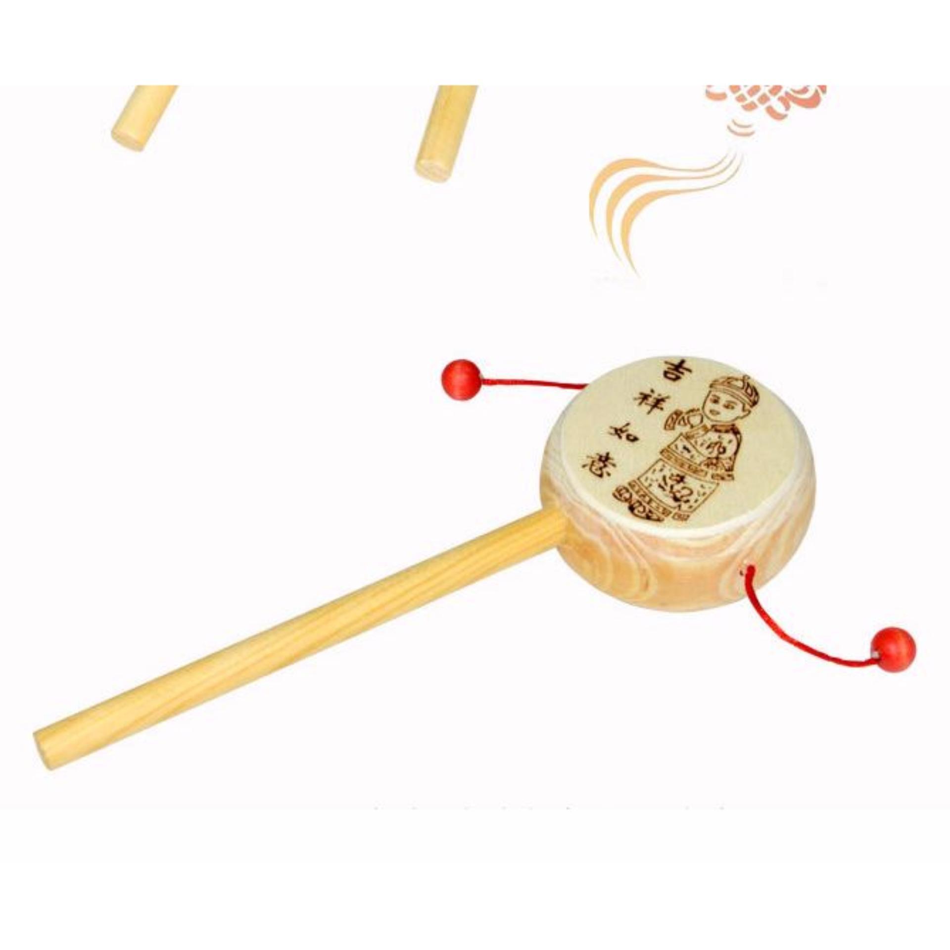 Hình ảnh Trống lắc gỗ - Lục lạc lắc gỗ - Đồ chơi gỗ an toàn cho bé TE-TG01