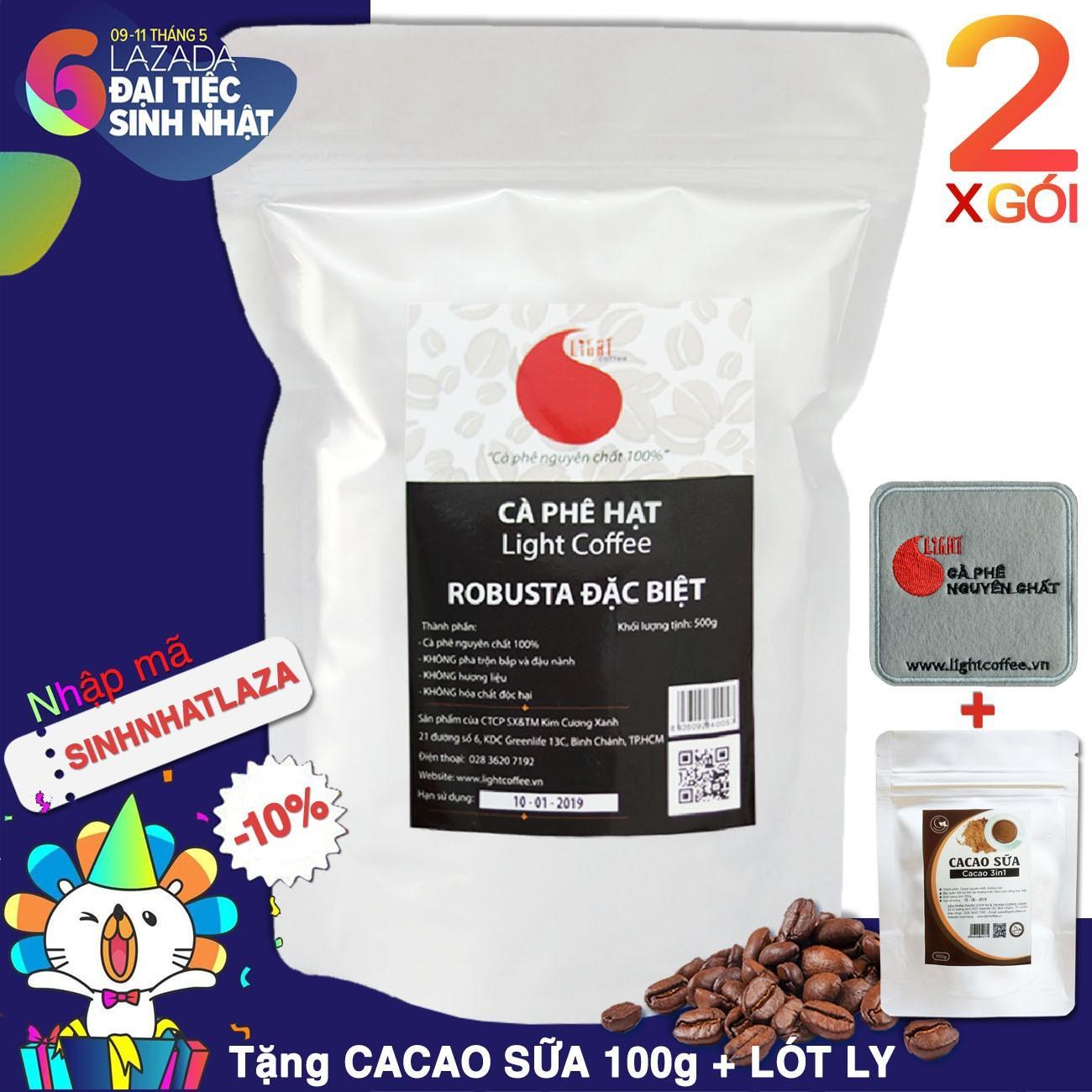 Bán Ca Phe Hạt Robusta Đặc Biệt Nguyen Chất 100 T Light Coffee 2 Goi 500Gr Goi Light Coffee