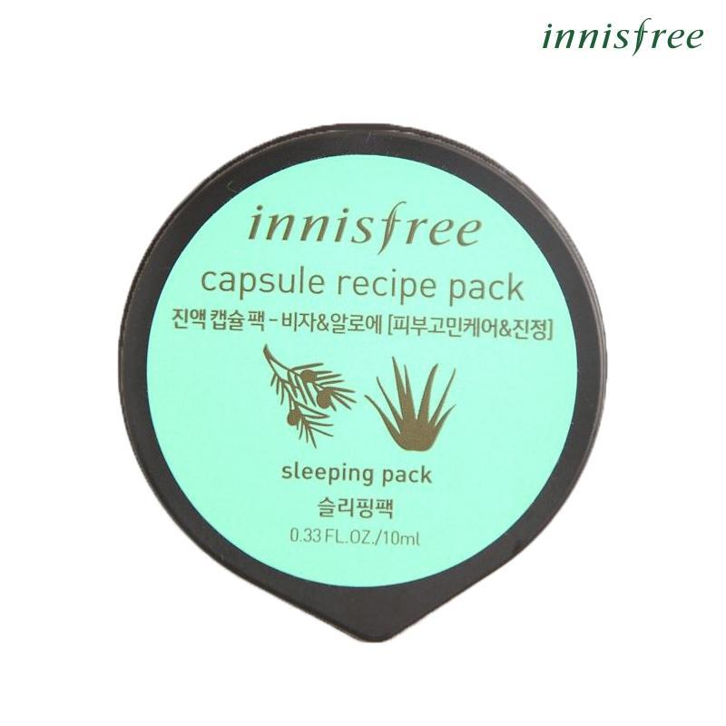 Mặt nạ ngủ làm mịn da dành cho da mụn từ Bija & nha đam Innisfree Capsule Recipe Pack - Bija & Aloe 10ml