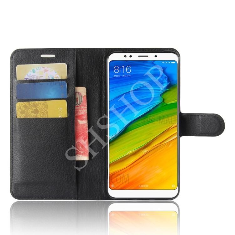 Hình ảnh Bao da Xiaomi Redmi 5 Plus dạng ví Litchi (Màu như hình)