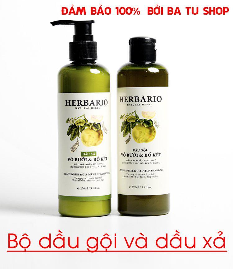 Hình ảnh Bộ đôi Dầu Gội và Dầu Xả HERBARIO trị rụng tóc, giúp tóc óng ả mềm mại 270ml x 2