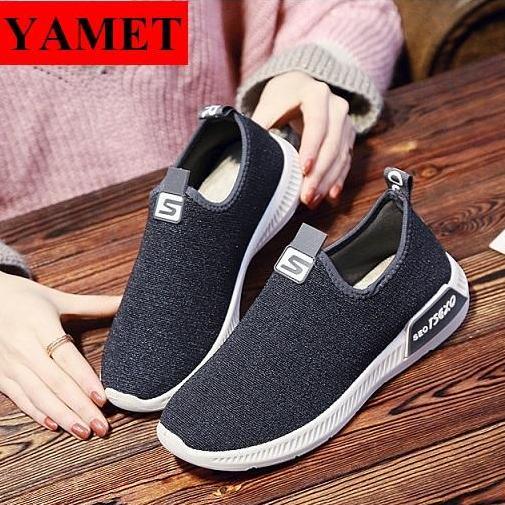 Hình ảnh Giày Sneaker Nữ Mẫu Mới Siêu Hot YAMET SN-35341 Màu Xám Đen
