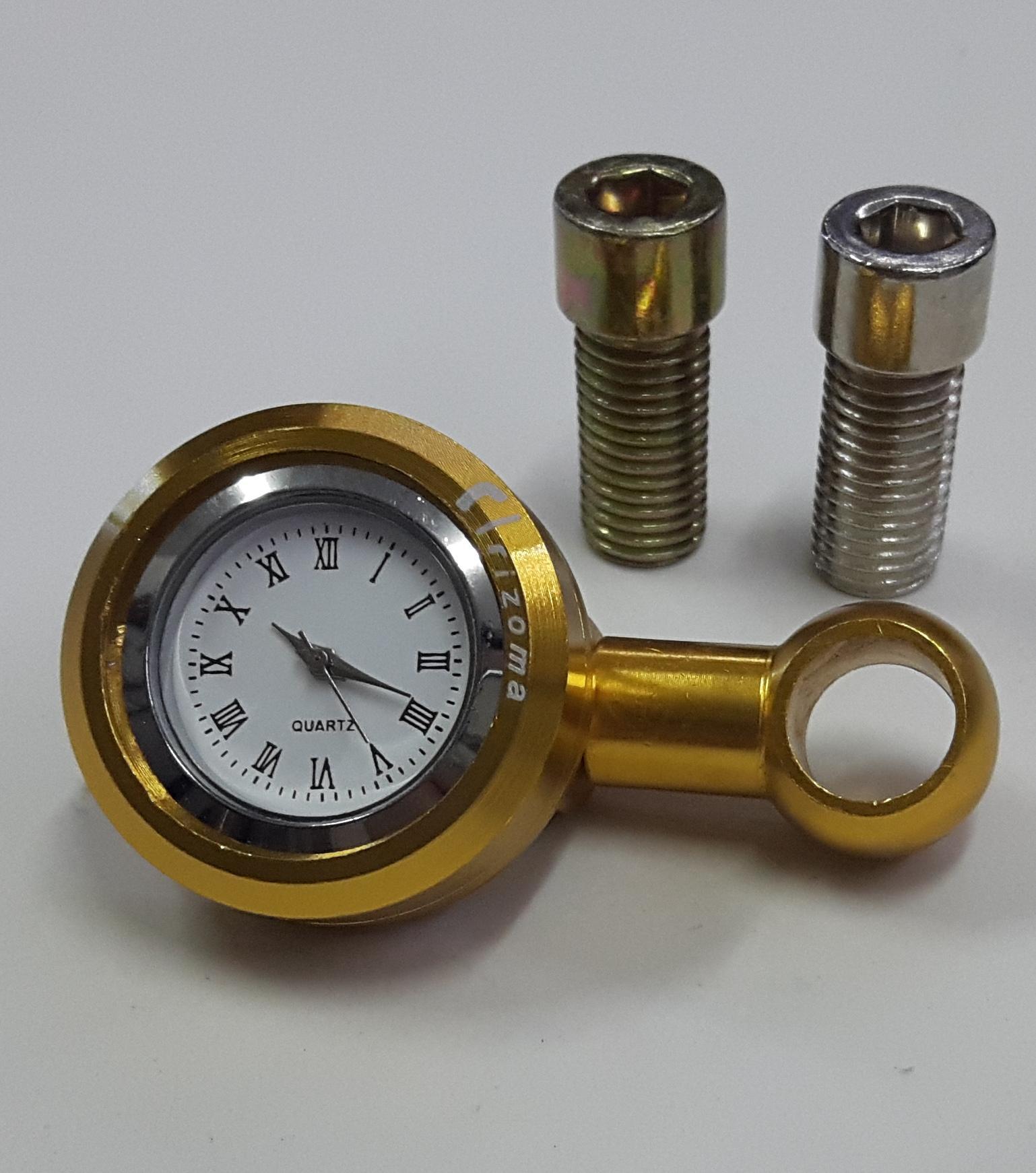 Đồng hồ chân gương xe máy Rizoma màu vàng + Tặng 1 ốc ren thuận và 1 ốc ren ngược