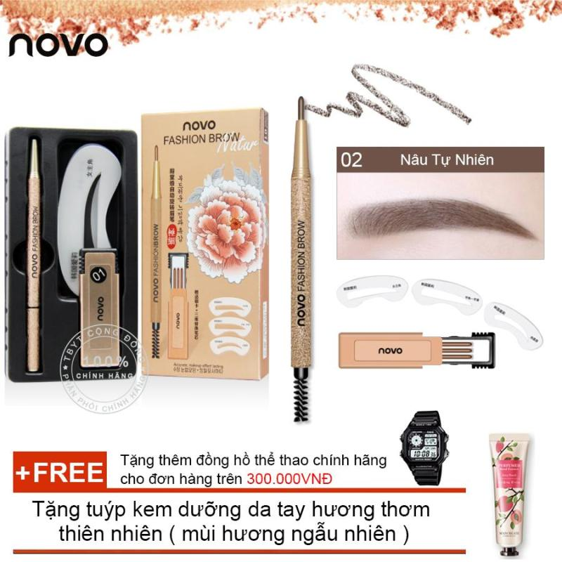 Bộ chì mày định hình 3 kiểu Novo Fashion Brow 5146 + Tặng tuýp kem dưỡng da tay hương thơm thiên nhiên ( Đơn hàng  mỹ phẩm trên 300k tặng thêm 1 đồng hồ thể thao như quảng cáo )