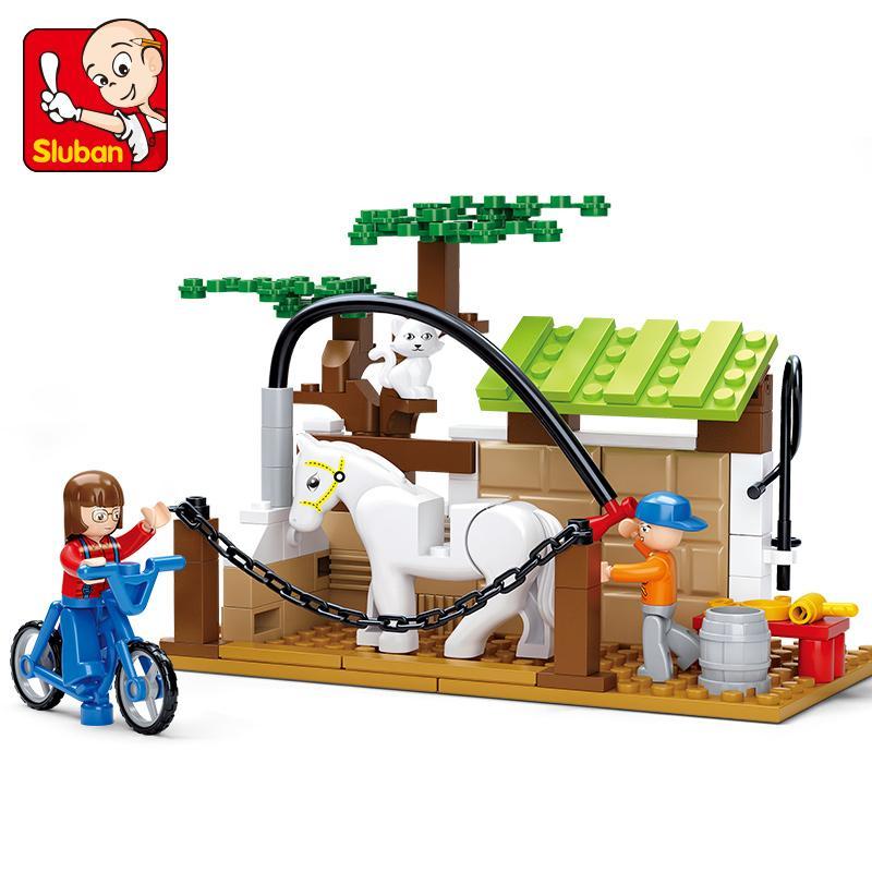 B0557 SLUBAN Happy Farm Horse Care Station Model Building Blocks Classic Enlighten Figure Toys For Children