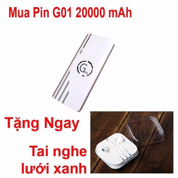Hình ảnh Pin sạc dự phòng G01 Litinum 20000MAH (Trắng) -hổ trợ sạc nhanh + tặng ngay tai nghe lưới xanh