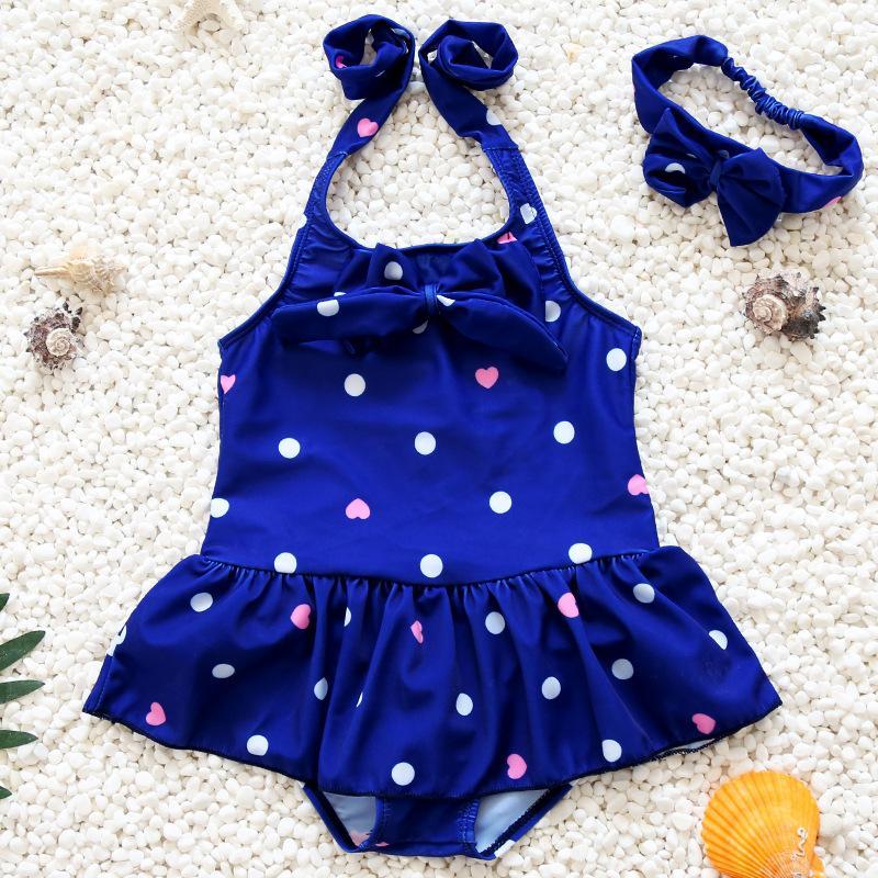 Hình ảnh Đồ bơi trẻ em từ 5-6 tuổi chấm bi kiểu dáng Hàn Quốc B01X-XL màu xanh