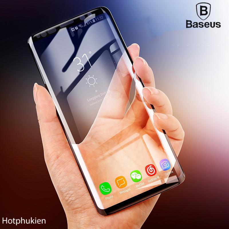 Hình ảnh Miếng dán kính cường lực Full màn hình 3D Arc cho Samsung Galaxy S9 Plus hiệu Baseus độ cứng 9H chống độ cứng gấp 20 lần miếng dáng thường chống tia cực tím thế hệ mới - phân phối hot phu kien