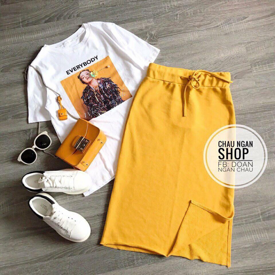 SET #chân #váy #vàng + #áo #phông chuẩn hình.