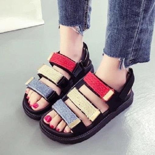 Dép sandal kim tuyến 3 dán mới 2018