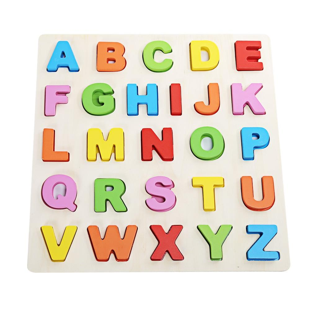 Hình ảnh Mumama Wooden Building Block Animal Letter Jigsaw Toy (CAPITAL PATTERN) (Multicolor) - intl