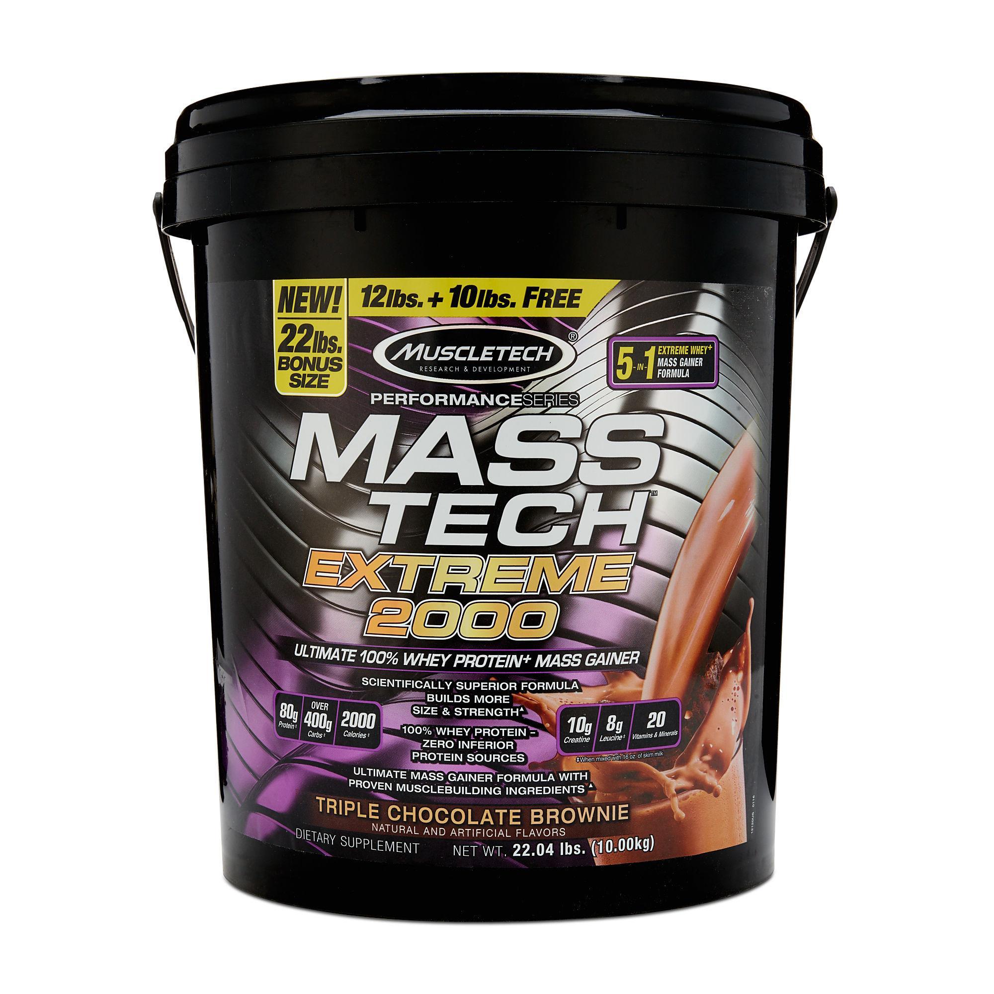 Hình ảnh MuscleTech Mass Tech Extreme 2000, 22Lbs (10 Kg) Triple Chocolate Brownie