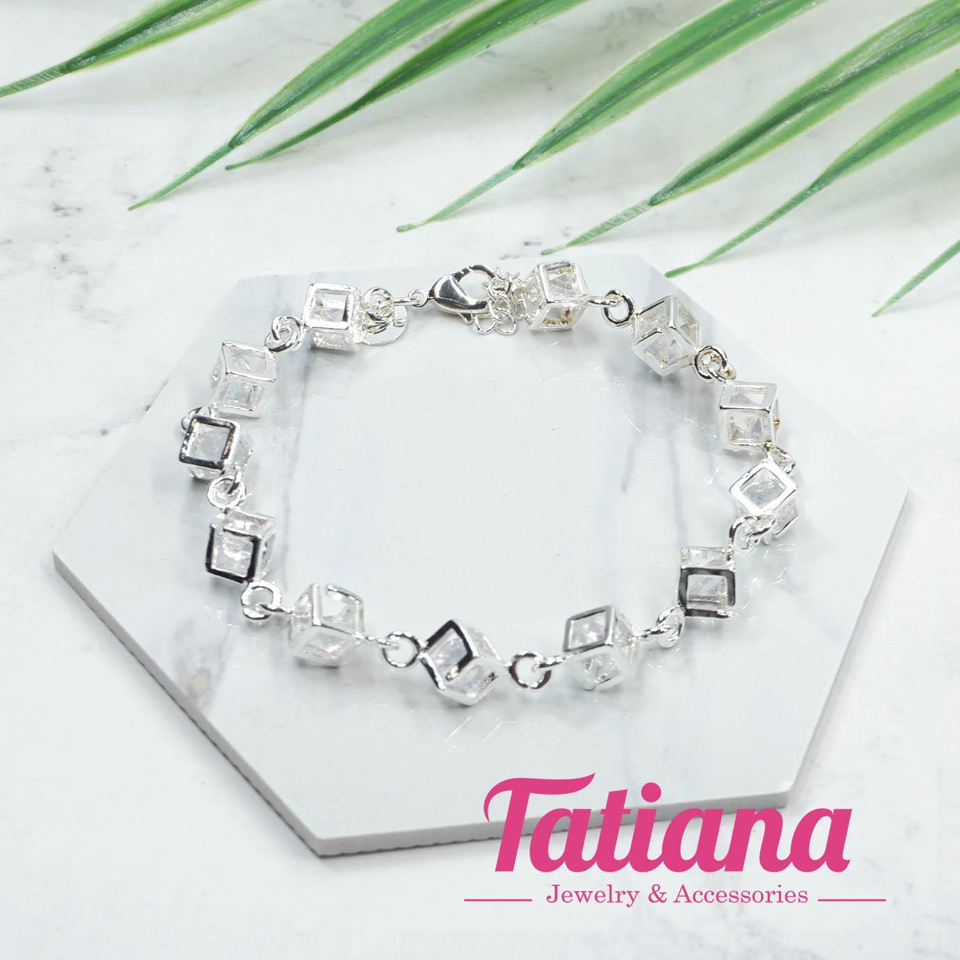 Hình ảnh Vòng Tay Nữ Mạ Bạc Hạt Vuông Đính Đá - Tatiana - VB2256 (Bạc)