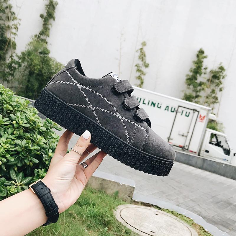 3a09c07031d9c5 2017 Autumn And Winter New Style Korean Style Thick Bottomed Velcro  Students Sneakers Suede Flat Leisure