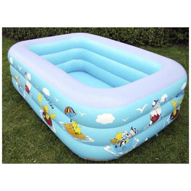 Bể bơi mini cho bé, Bể Bơi Phao 3 Tầng Hình Chữ Nhật Loại 180cmx140cmx60cm + Tặng Bơm Điên, Giảm 50%