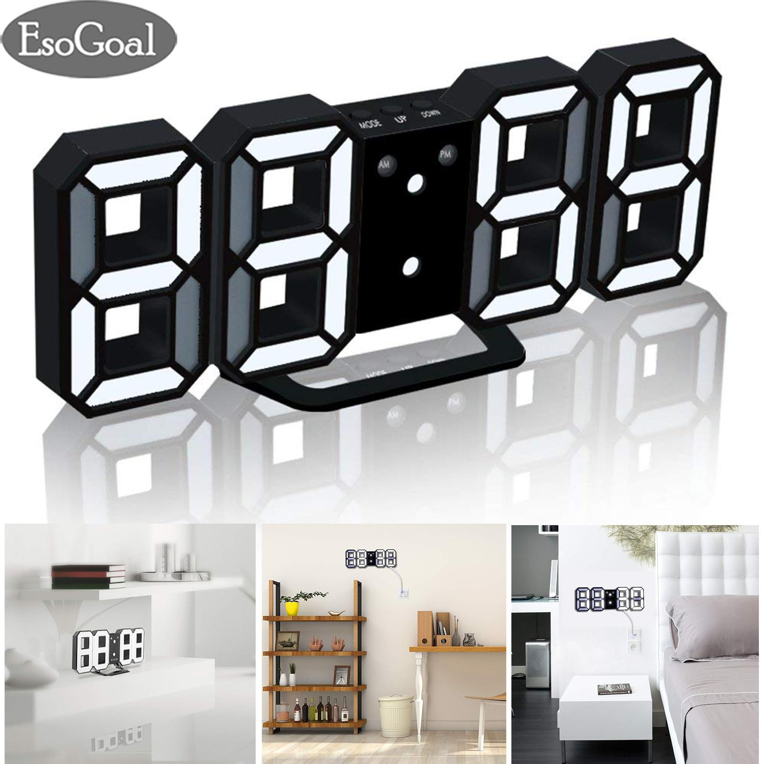 EsoGoal Jam Digital Dinding Modern LED Digital Wall Clock Digital Table Clock Desk Clock Alarm Clock